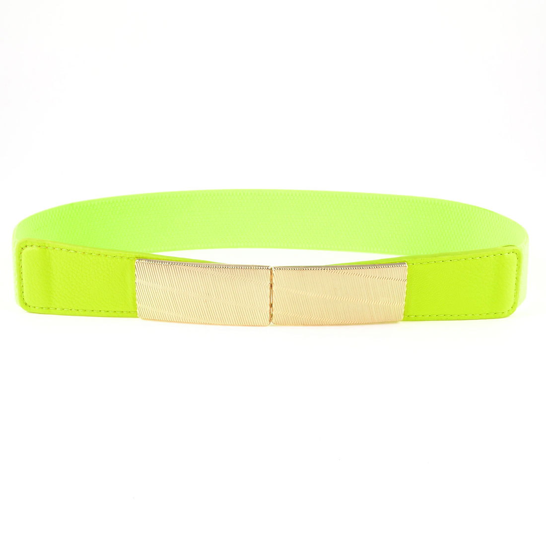 Gold Tone Interlocking Buckle Yellow Green Elastic Cinch Belt Band for Lady