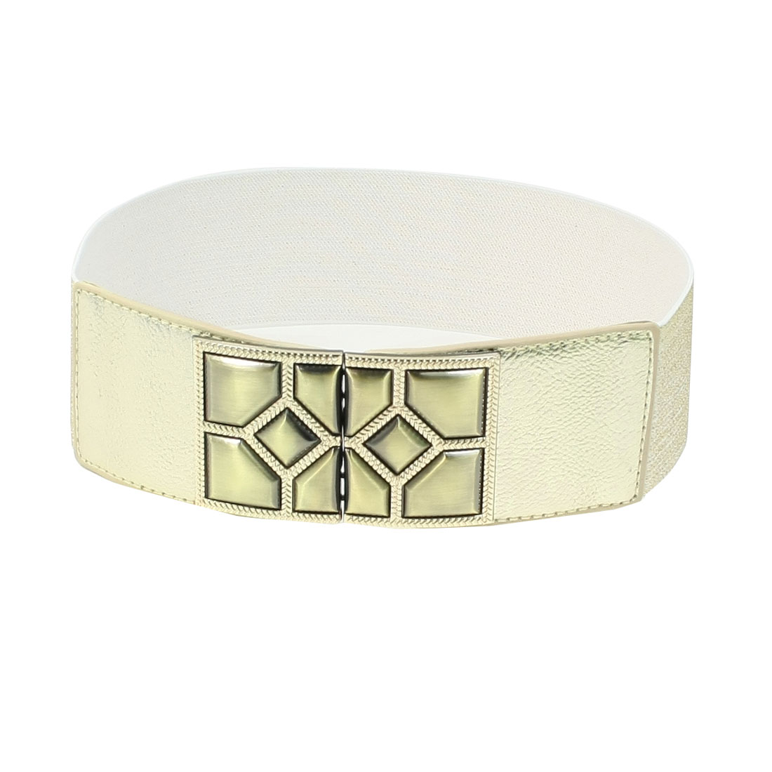 Interlock Buckle Faux Leather Gold Tone White Elastic Belt for Woman Ladies
