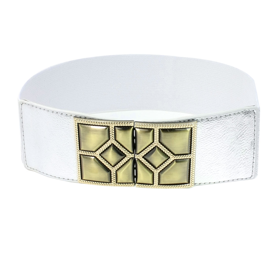Faceted Interlocking Buckle 6cm Wide Elastic Cinch Belt Silver Tone for Lady