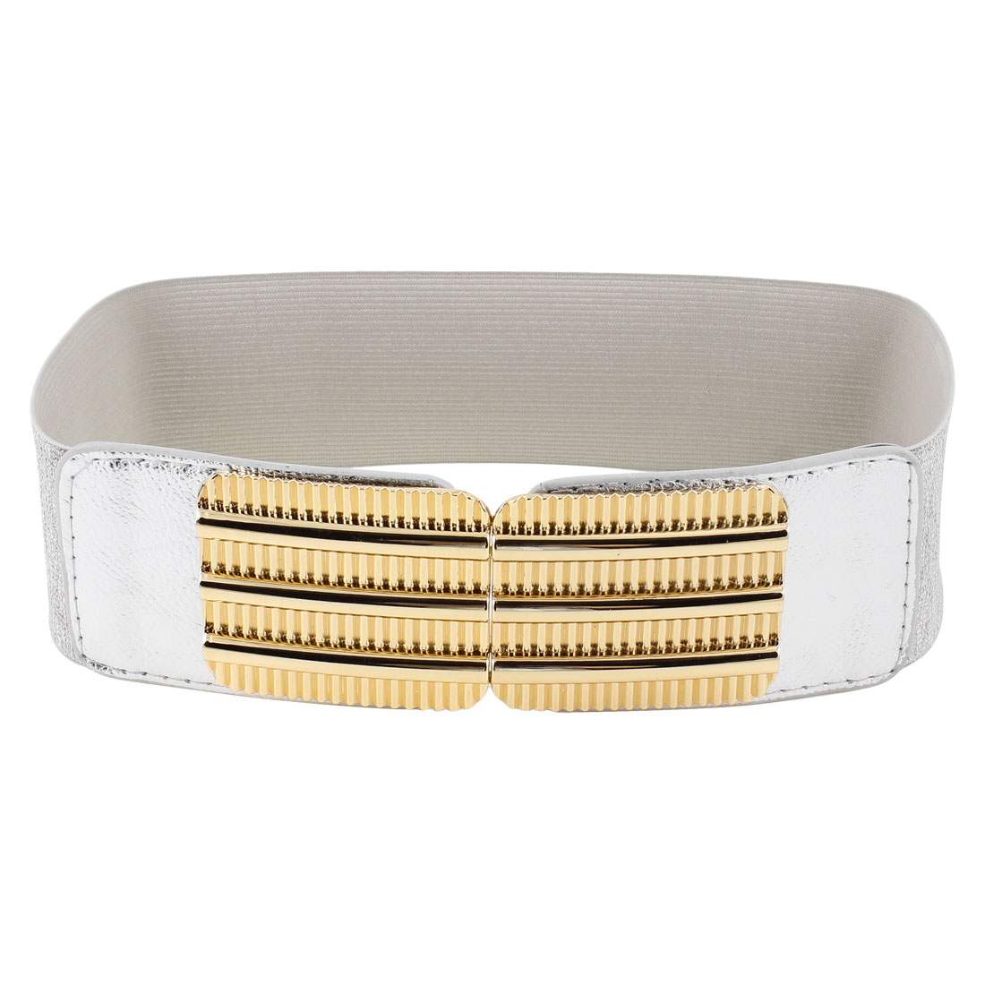 Woman Railway Design Interlocking Buckle Glittery Cinch Waist Belt Silver Tone