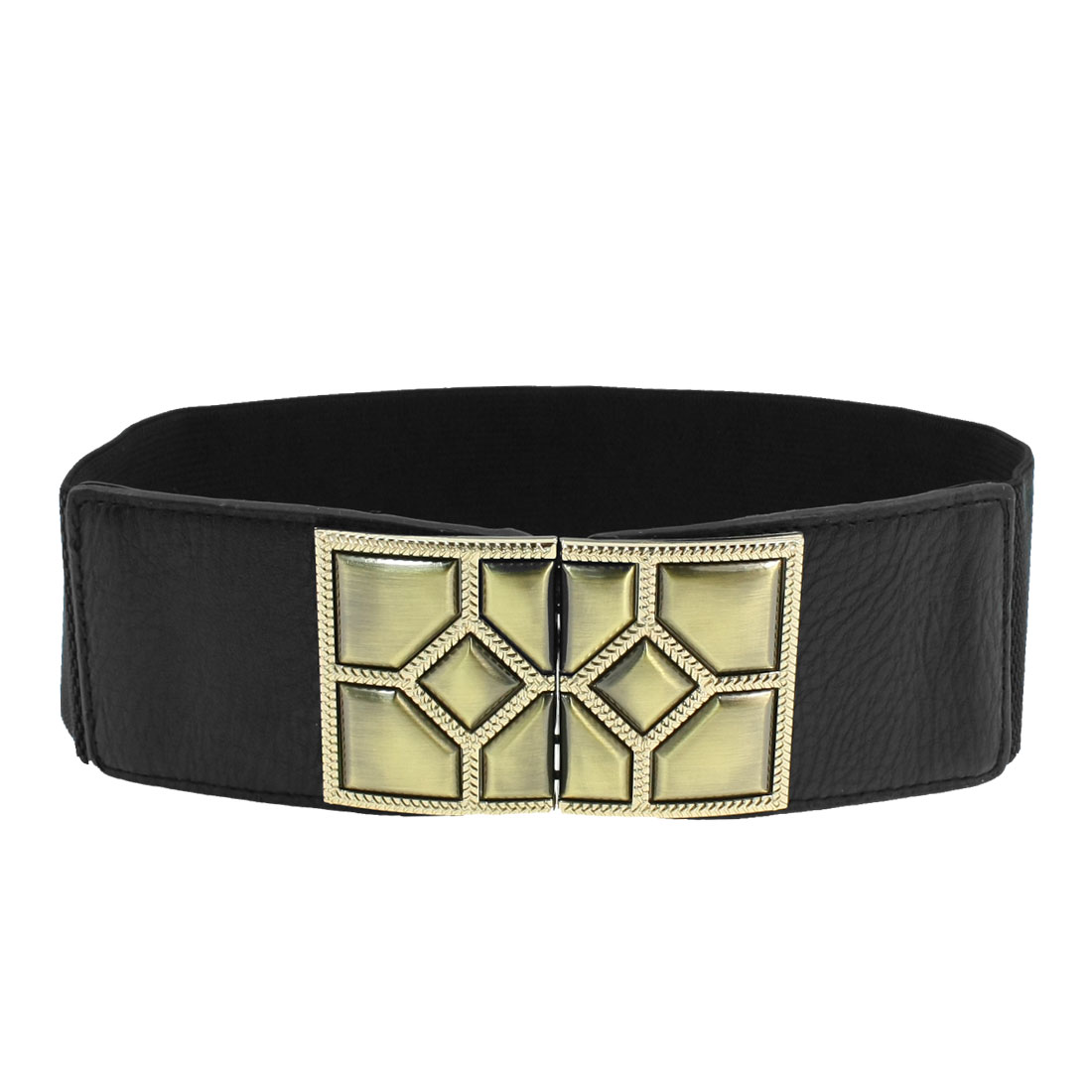 Metal Interlock Buckle Faux Leather Black Textured Elastic Belt for Woman