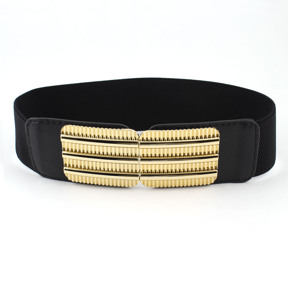 Women Railway Design Interlocking Buckle Faux Leather Elastic Cinch Belt Black