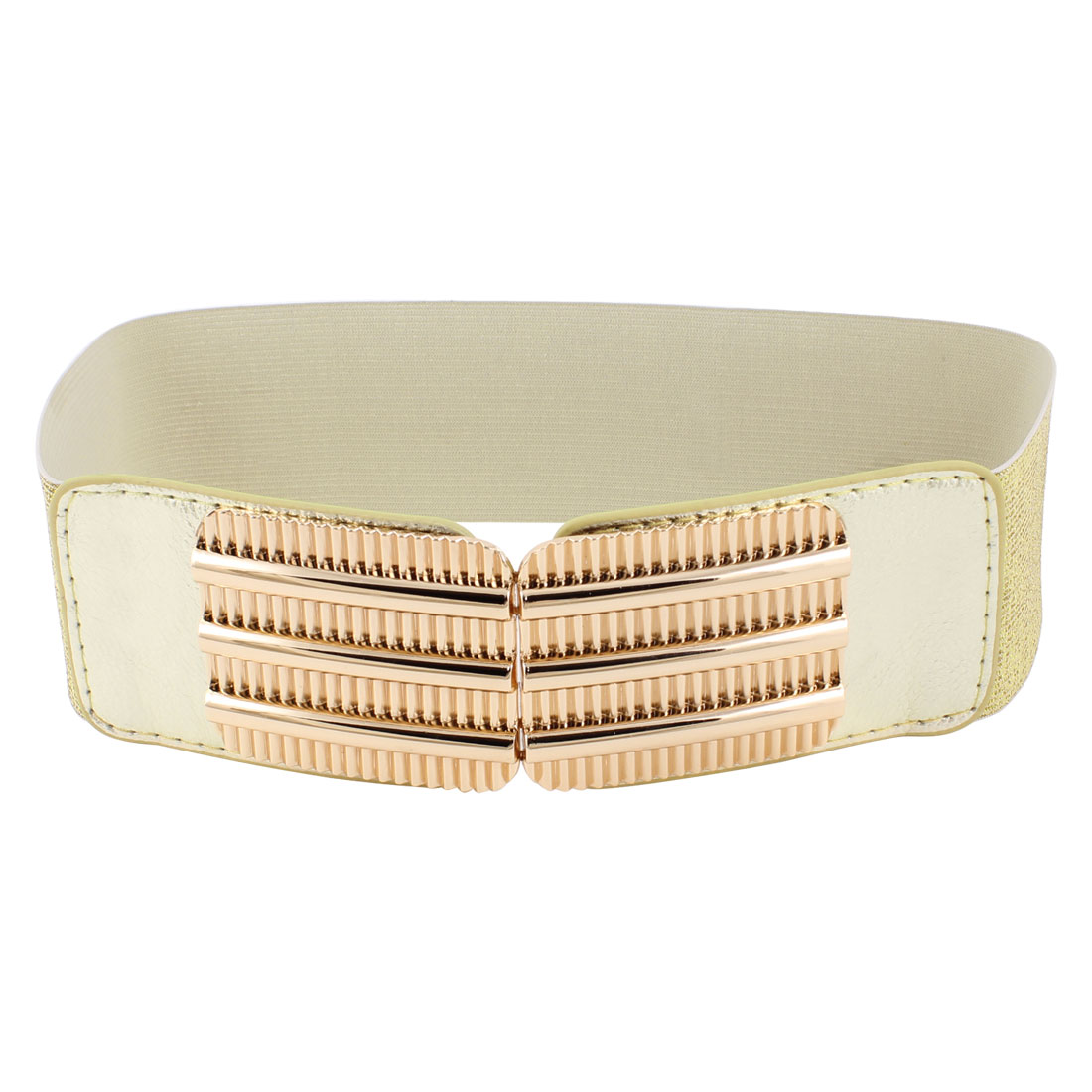 Lady Railway Design Interlocking Buckle Shiny Elastic Cinch Waist Belt Gold Tone