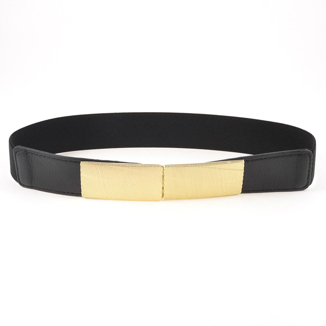 Gold Tone Interlocking Buckle Black Elastic Cinch Belt Band for Lady