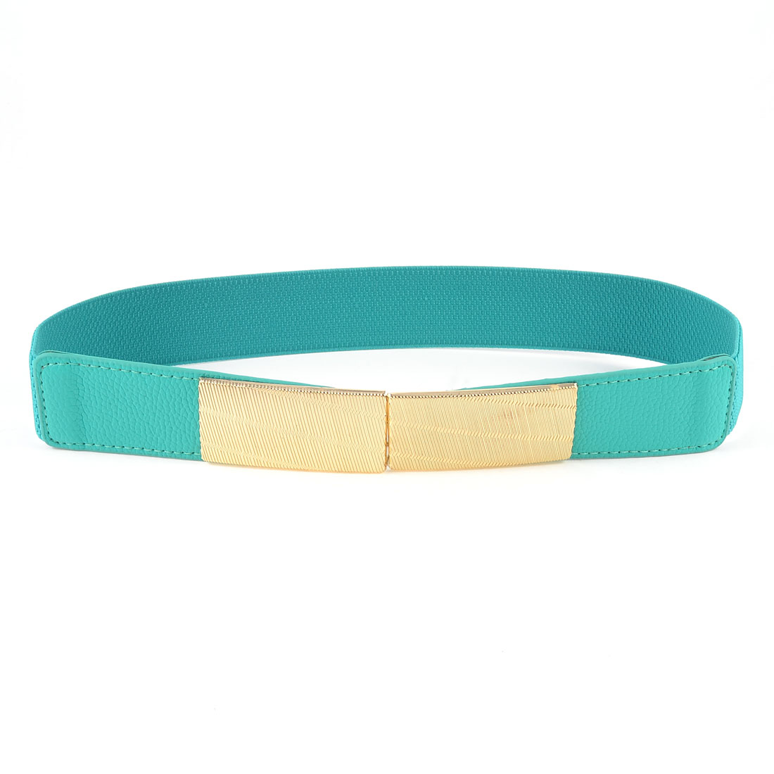Gold Tone Interlocking Buckle Teal Green Elastic Cinch Belt Band for Lady