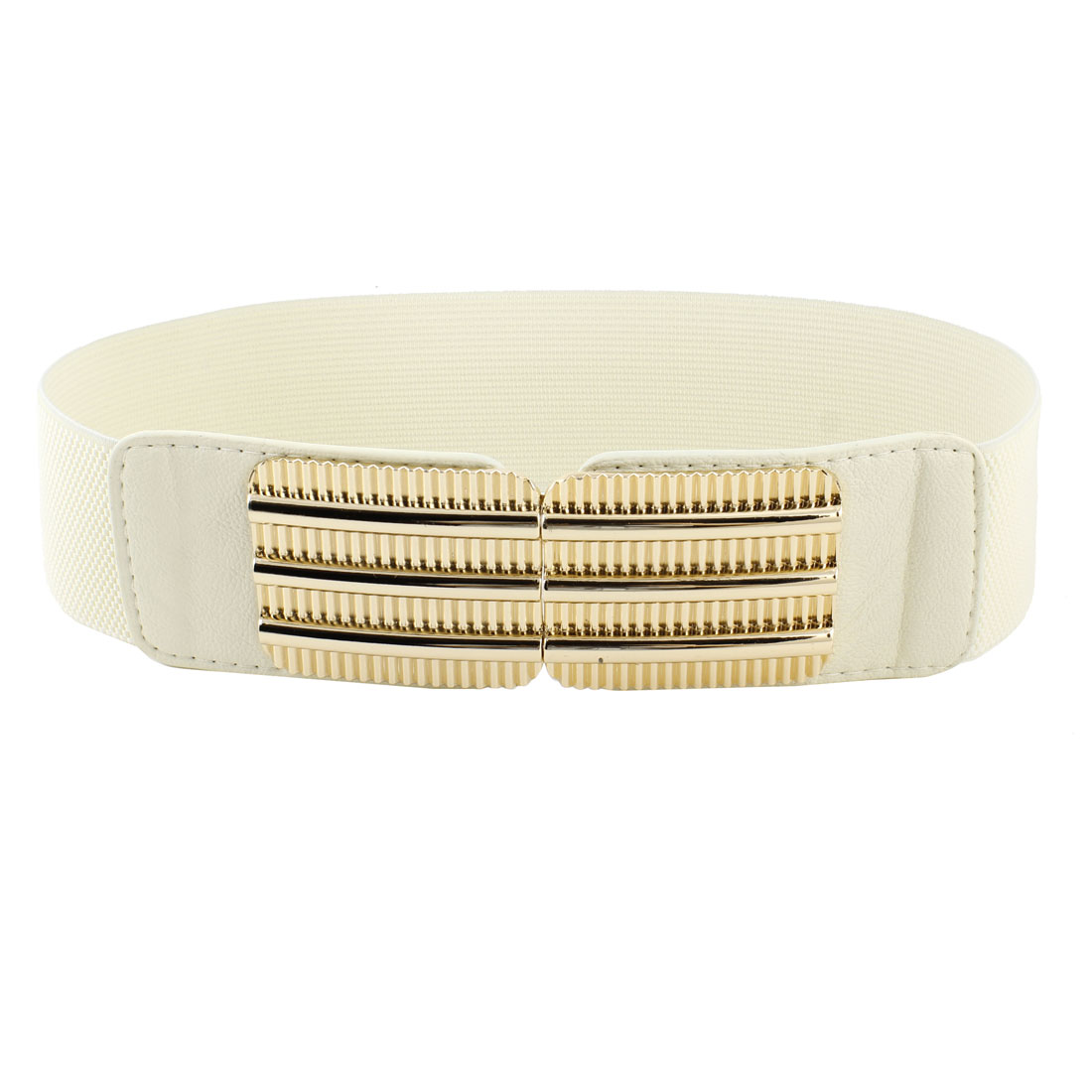 Women Railway Design Faux Leather Texture Elastic Cinch Waist Belt Off White