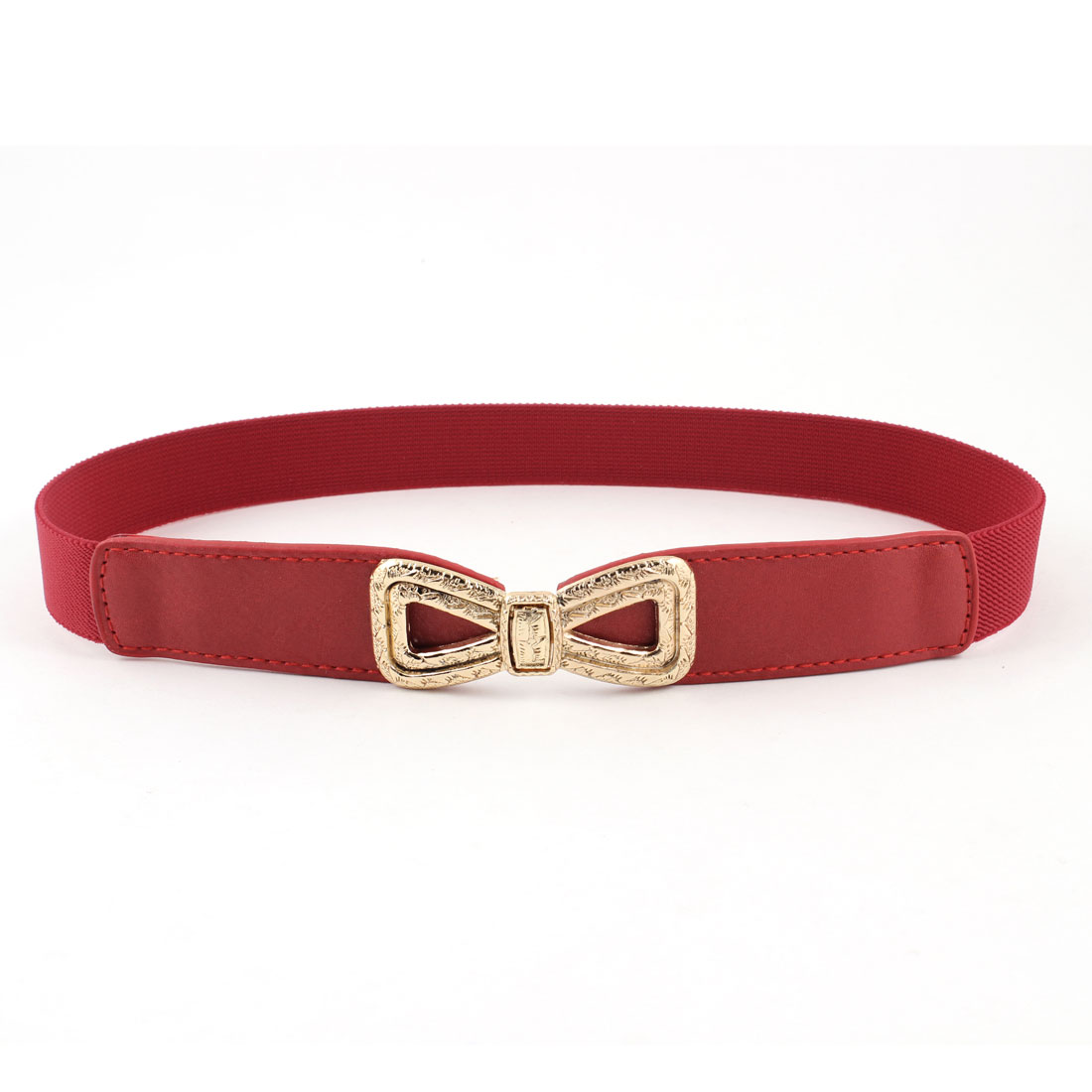 Lady 8 Shape Embossment Interlock Buckle Faux Leather Stretchy Belt Red