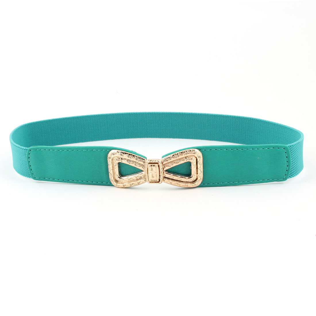 Ladies Embossment Interlock Buckle Stretchy Faux Leather Waist Belt Teal Green