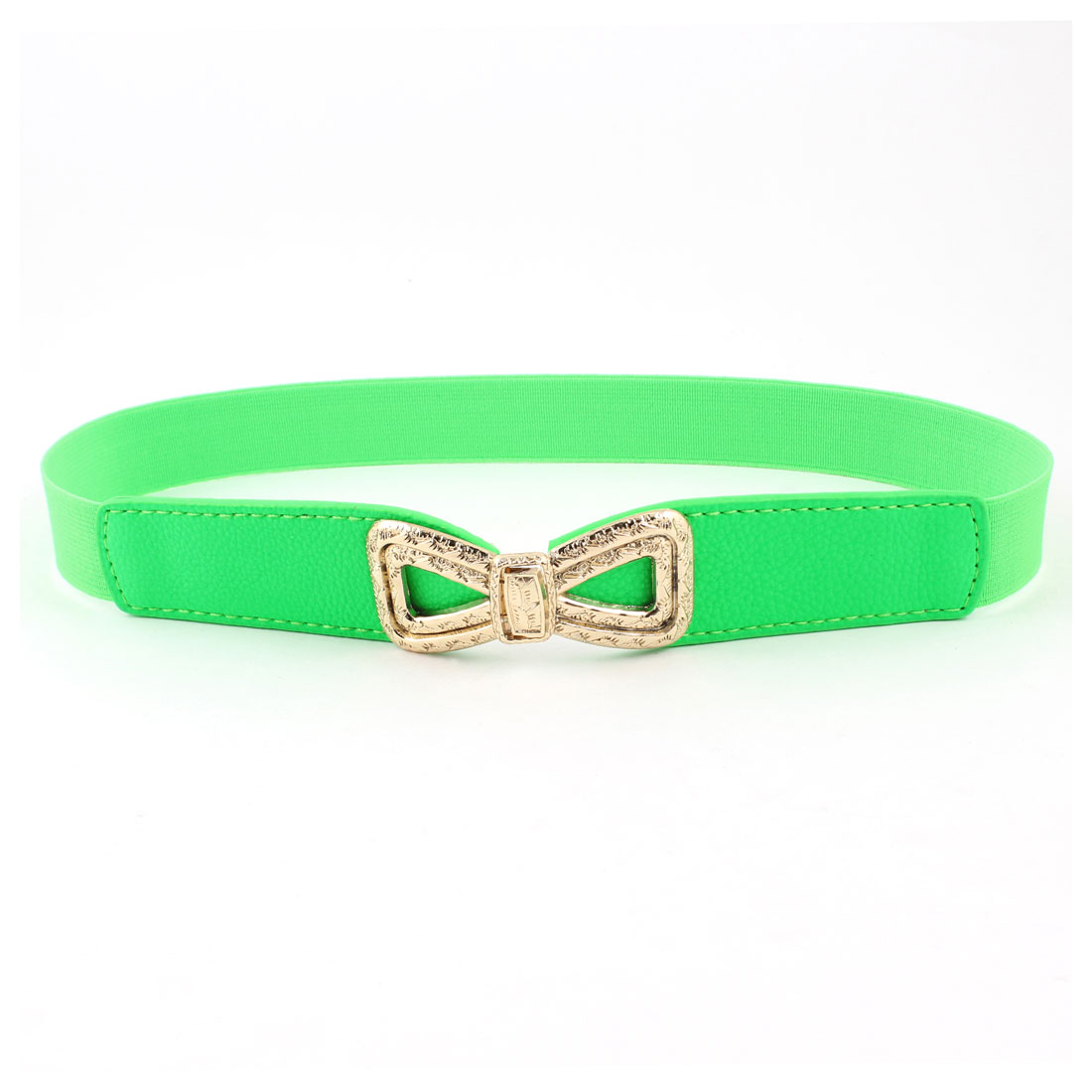 1inches Wide Faux Leather Elastic Band Slim Waist Belt Grass Green for Women