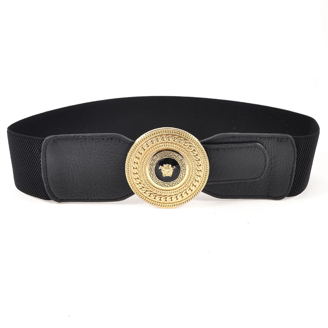 Gold Tone Metallic Single Prong Buckle Black Cinch Belt for Ladies