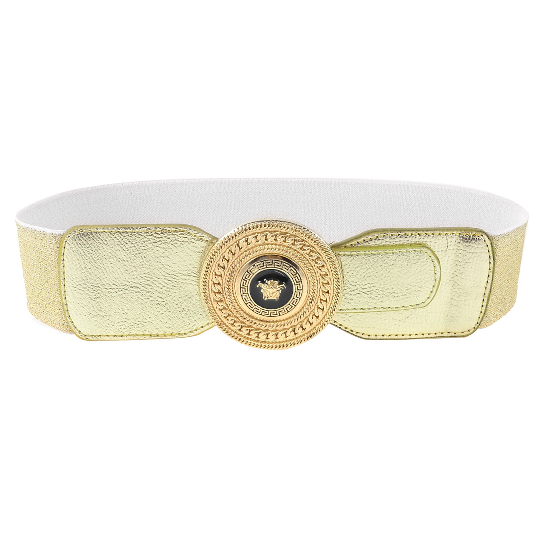 Faux Leather Decor Metallic Single Prong Buckle Gold Tone Cinch Belt for Ladies