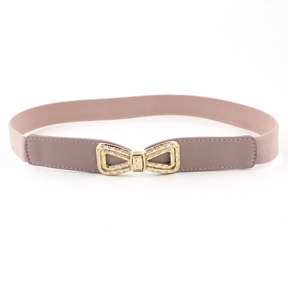 1inches Wide Faux Leather Elastic Band Slim Waist Belt Light Pink for Women