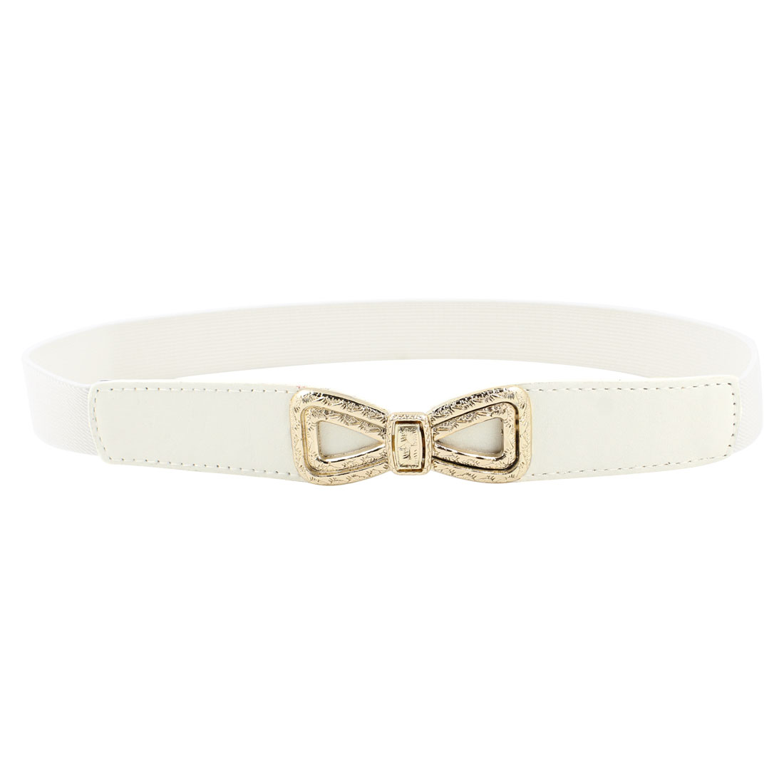 Ladies Embossment Interlock Buckle Stretchy Faux Leather Waist Belt White