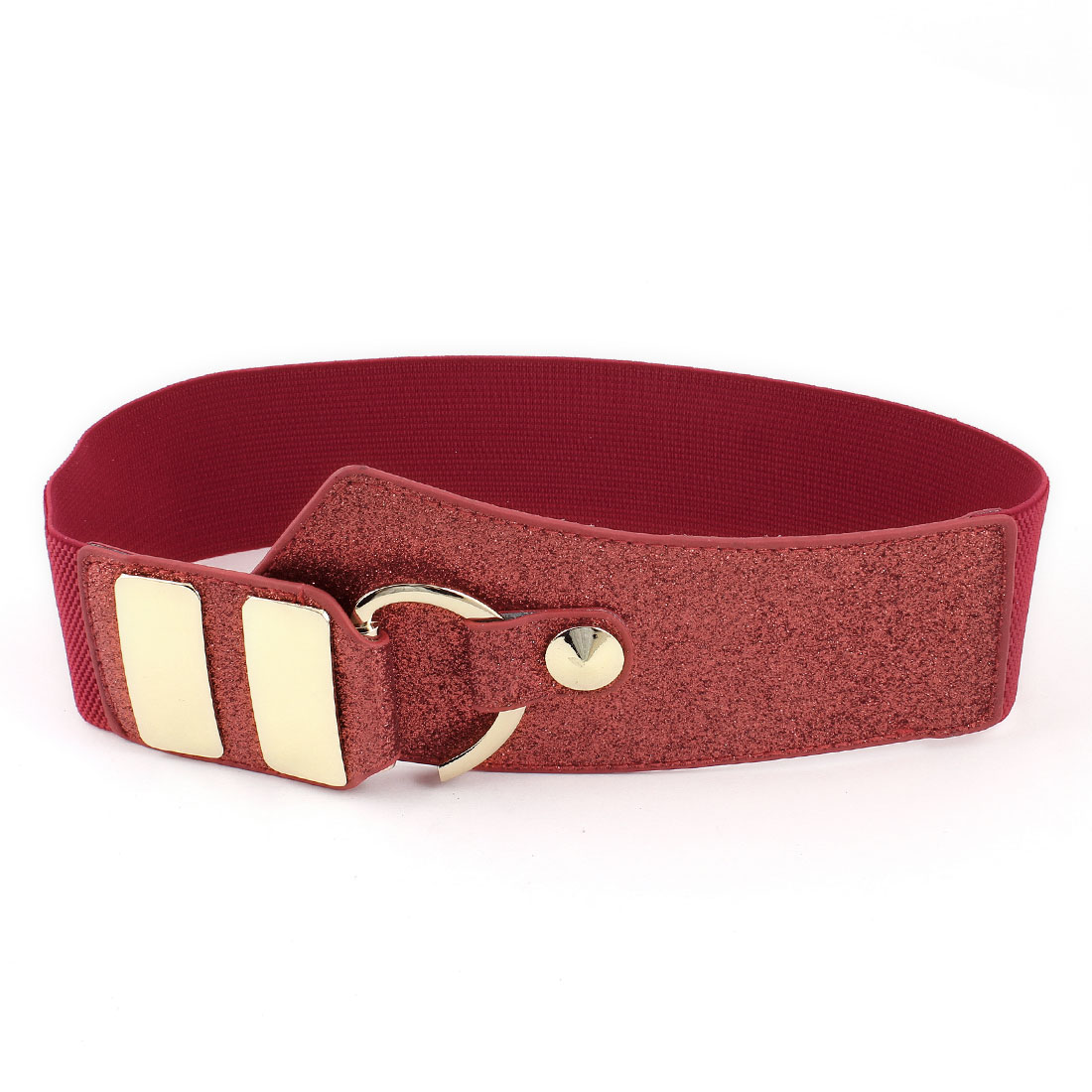 Glitter Powder Detail Faux Leather Elastic Belt Red for Lady Woman