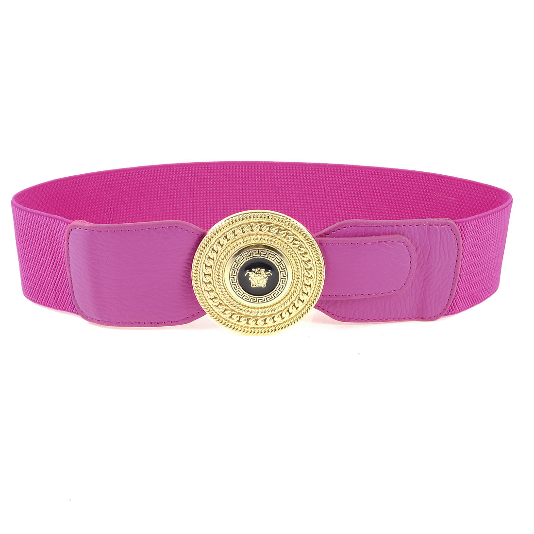Single Pin Buckle 6cm Width Stretchy Waist Cinch Band Belt Fuchsia for Woman