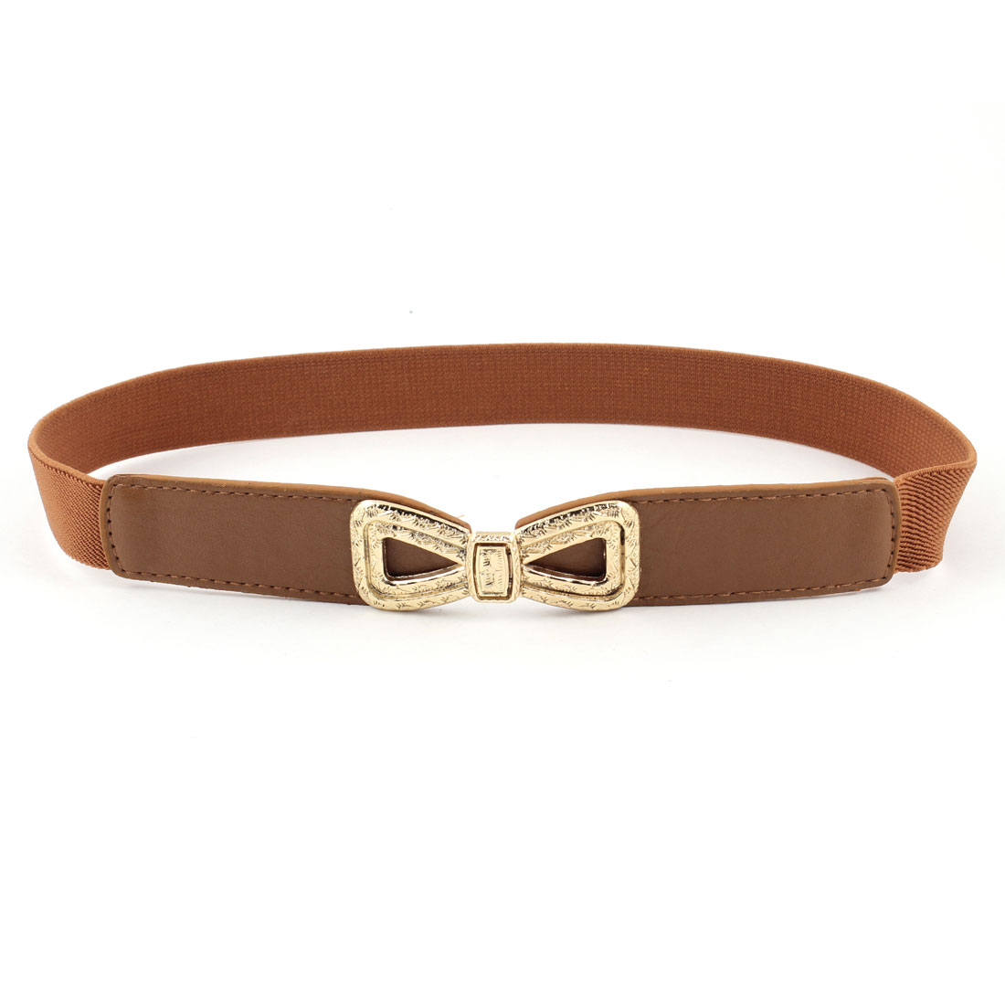 Ladies Embossment Interlock Buckle Stretchy Faux Leather Waist Belt Brown