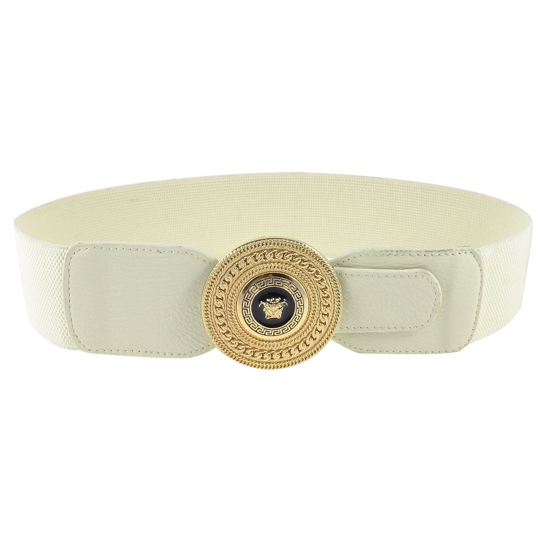 White 6cm Wide Single Prong Buckle Faux Leather Detail Stretchy Cinch Belt Band