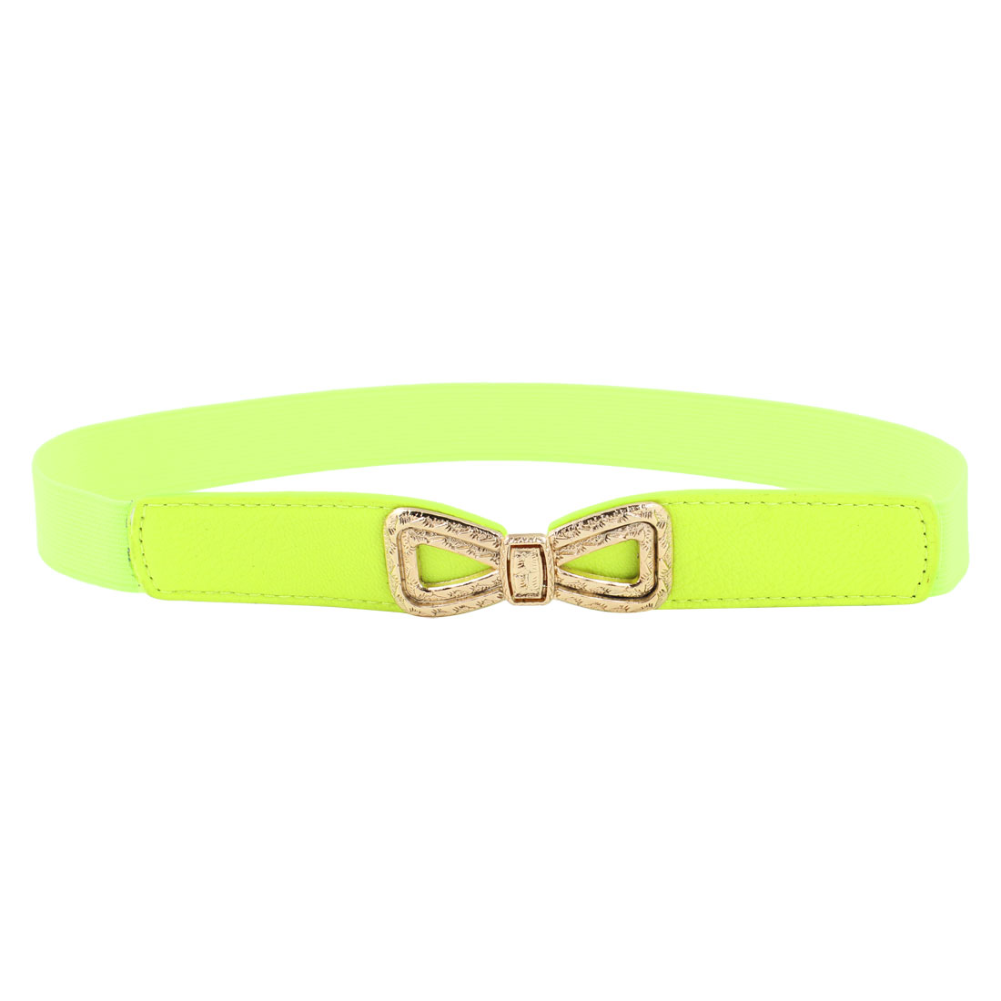 1inches Wide Faux Leather Elastic Band Slim Waist Belt Yellowgreen for Lady