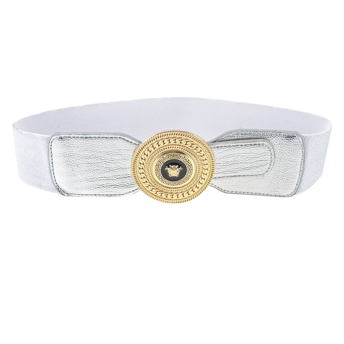 Single Pin Buckle 6cm Width Stretchy Waist Cinch Band Belt Silver Tone for Woman