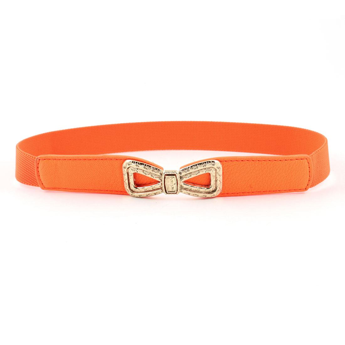Ladies Embossment Interlock Buckle Stretchy Faux Leather Waist Belt Orange