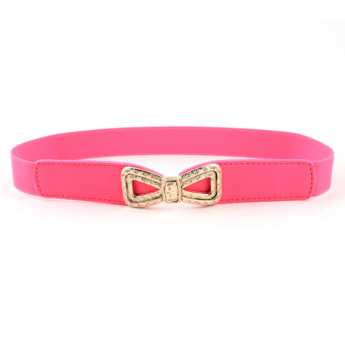 1inches Wide Faux Leather Elastic Band Slim Waist Belt Hot Pink for Women