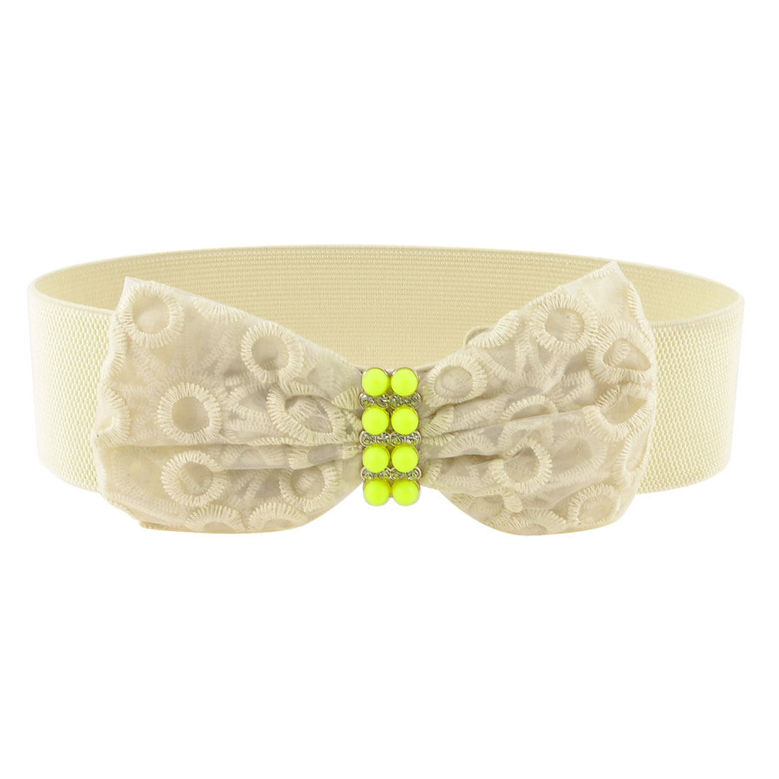 Ladies Off White Butterfly Knot Bead Detailing Rhinestone Elastic Waist Belt Band