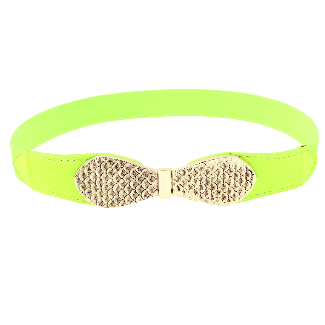 Ladies Fish Scale Print Interlocking Closure Skinny Cinch Belt Yellowgreen