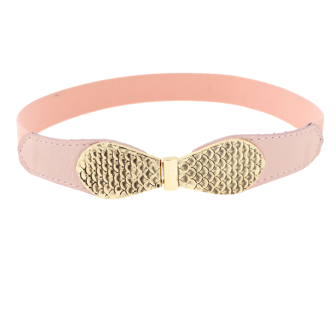 Fish Scale Pattern Metallic Interlock Buckle Skinny Cinch Belt Pink for Women