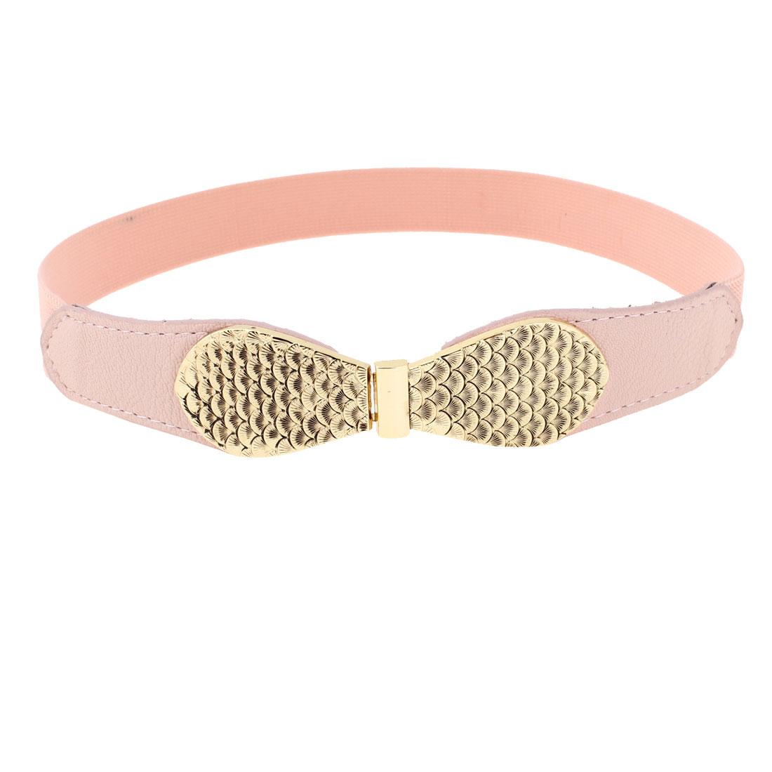Fish Scale Pattern Metallic Interlock Buckle Skinny Cinch Belt Pink for Women