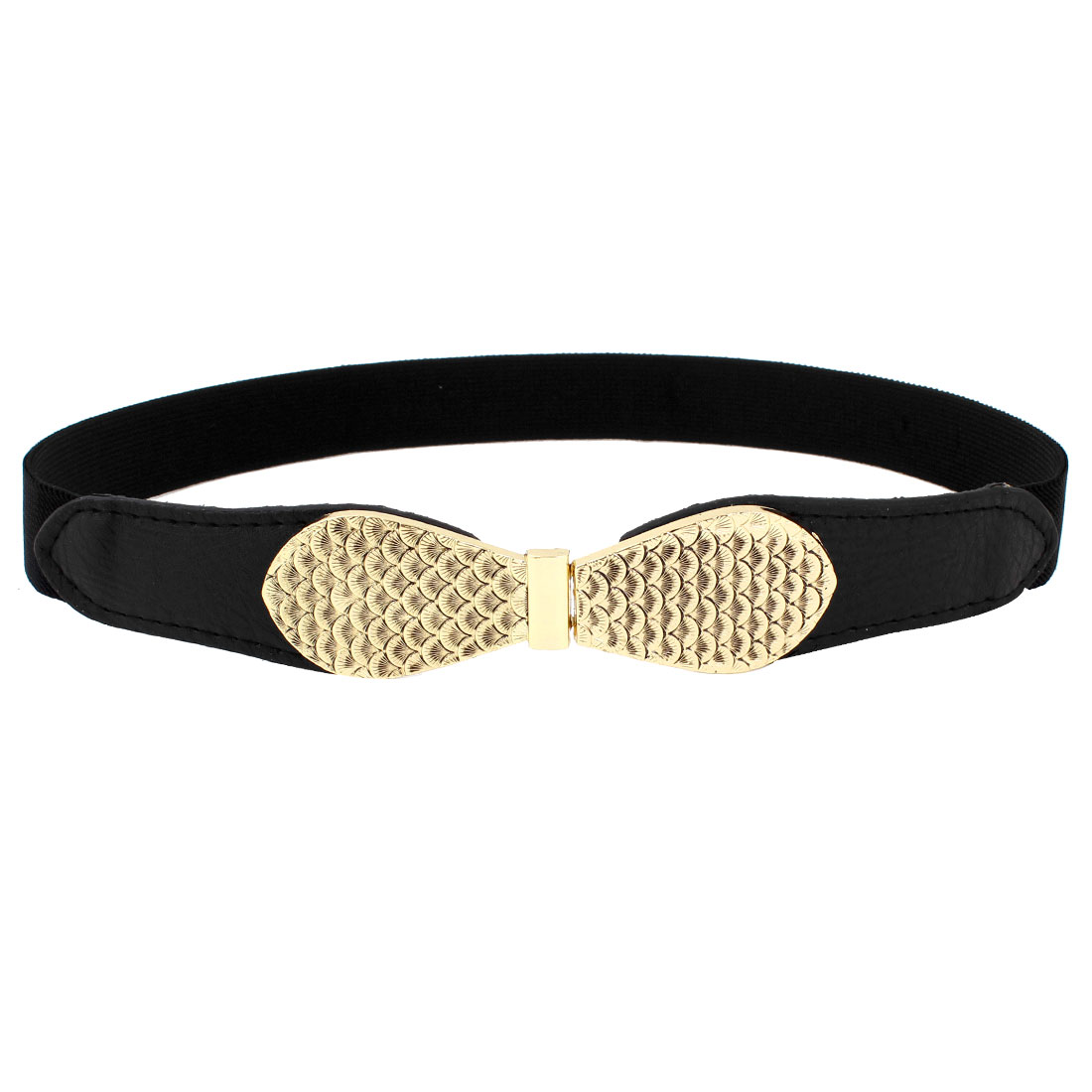 Women Fish Scale Print Interlock Buckle Black Faux Leather Elastic Waist Belt