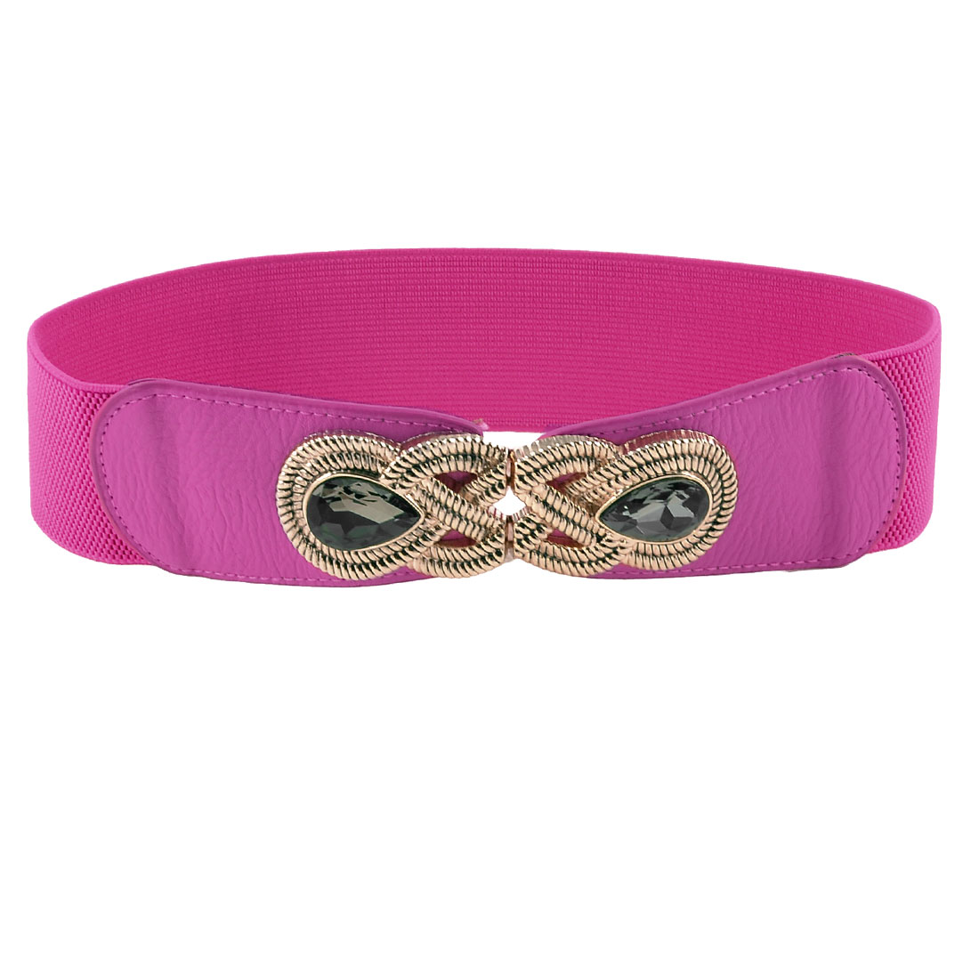 Lady Metal Interlocking Buckle Plastic Crystal Inlaid Fuchsia Elastic Waist Belt