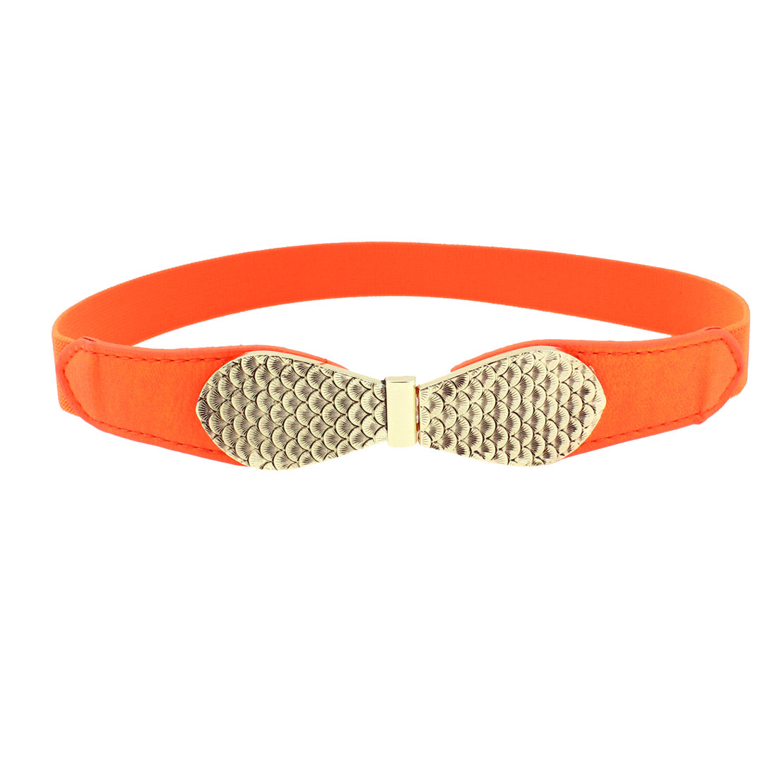 Women Fish Scale Carved Buckle Bright Orange Faux Leather Elastic Skinny Belt