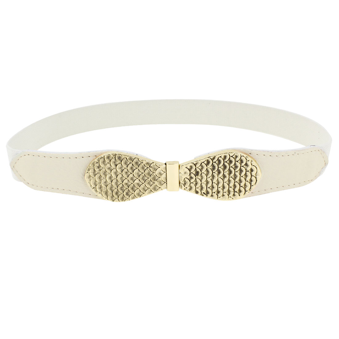 Fish Scale Pattern Metal Interlocking Buckle Skinny Cinch Belt White for Women