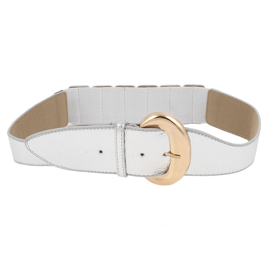 Women Single Prong Buckle White Faux Leather Elastic Waist Band Belt