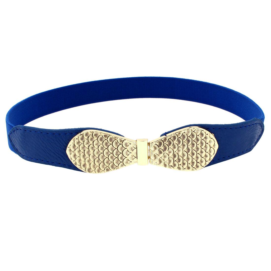 Woman Fish Scale Print Interlock Closure Blue Faux Leather Elastic Waist Belt