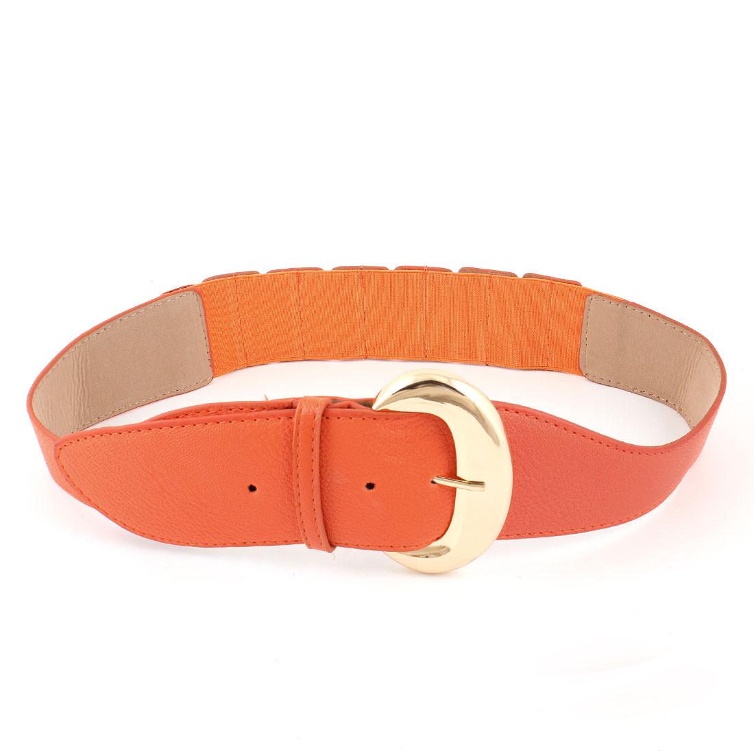 Woman Lady D Shape Single Prong Faux Leather Elastic Dress Waist Belt Orange