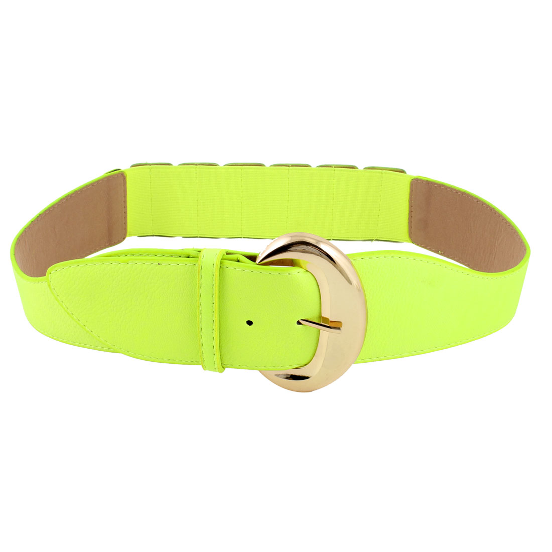 Acinaciform Faux Leather Elastic Band Waist Ornament Belt Bright Green for Women