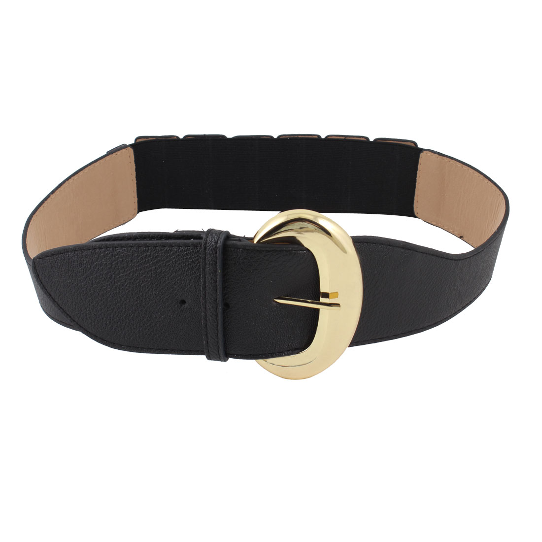 Black Single Pin Stretchy Acinaciform Faux Leather Waistband Belt for Ladies