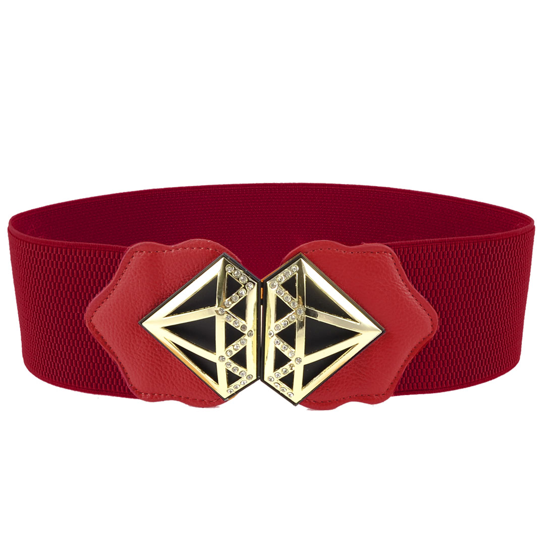 Lady Gold Tone Hollow Metal Detailing Rhinestone Red Elastic Waist Belt Band