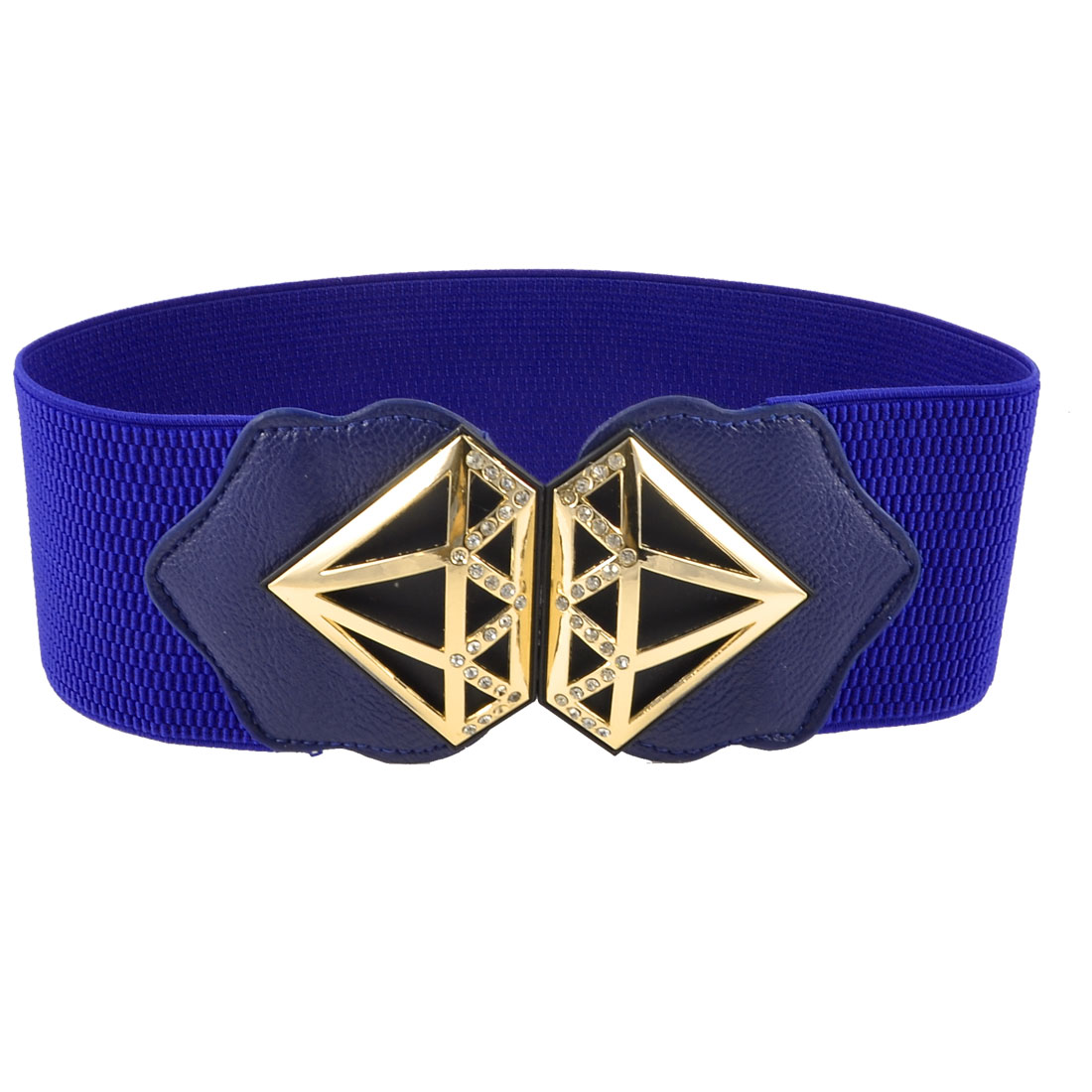 Lady Gold Tone Hollow Metal Detailing Rhinestone Blue Elastic Waist Belt Band