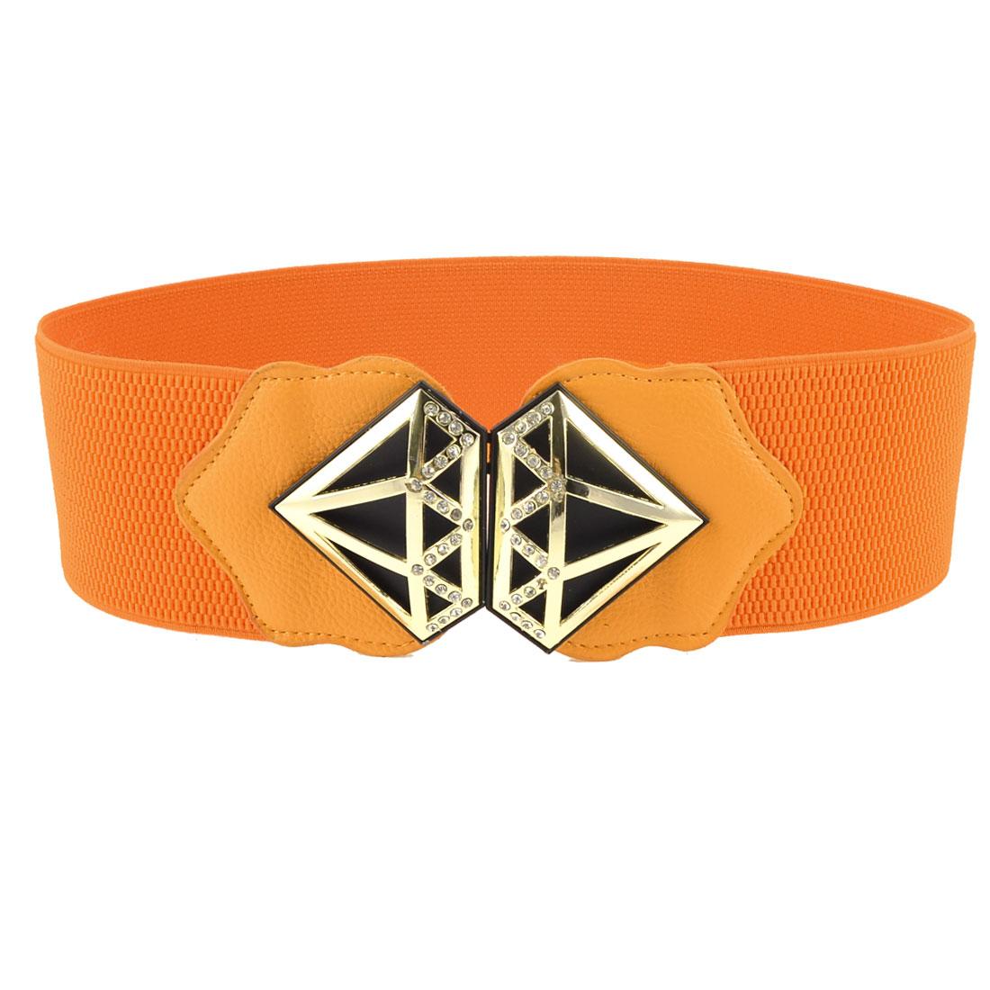 Women Gold Tone Hollow Metal Decor Rhinestone Orange Elastic Waist Belt Band
