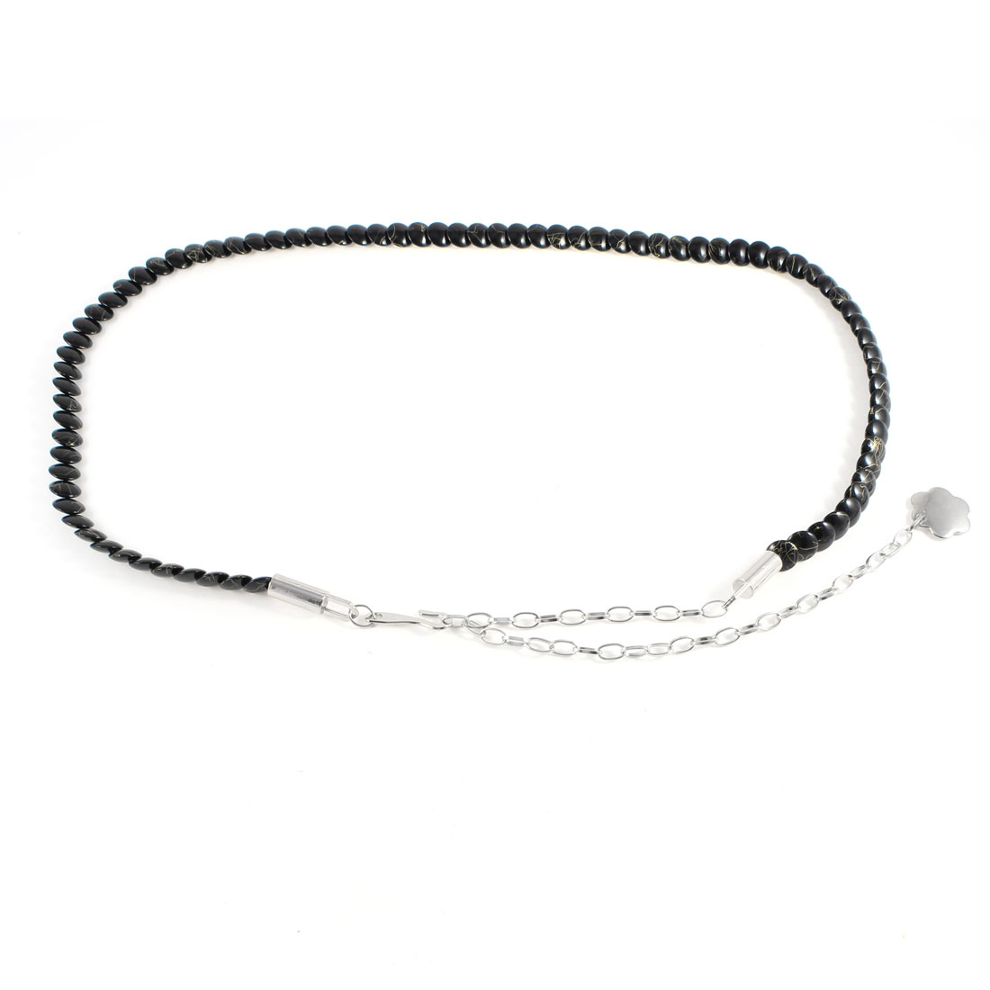 Silver Tone Metal Hook Buckle Black Adjustable Thin Waist Chain Belt for Woman