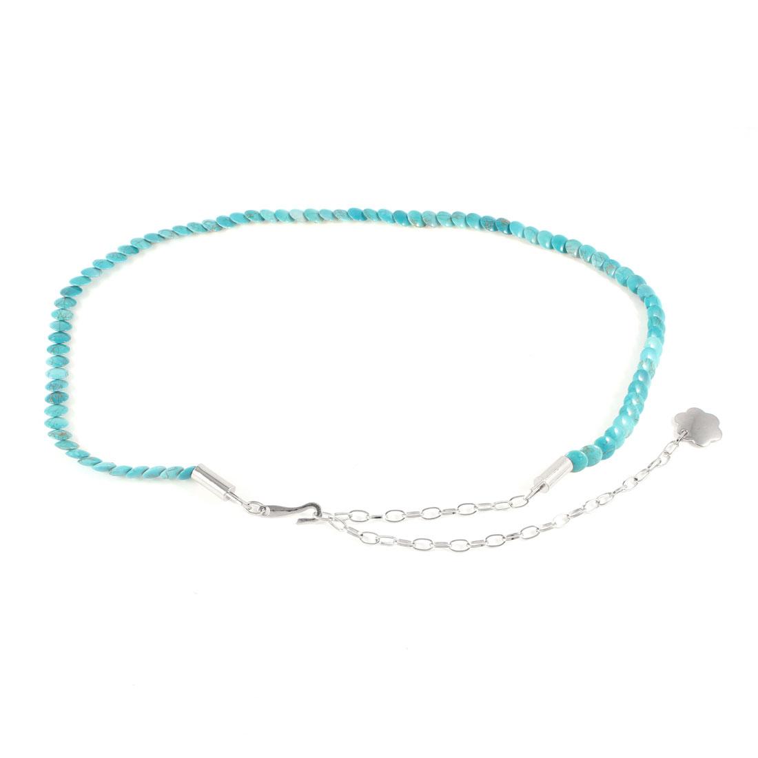 Lady Ornament Light Blue Round Plastic Beads Decor Adjustable Waist Chain Belt
