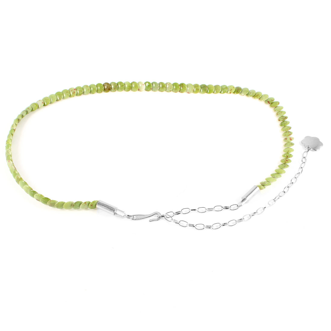 Ladies Light Green Round Plastic Beads Detail Adjustable Waist Chain Skinny Belt