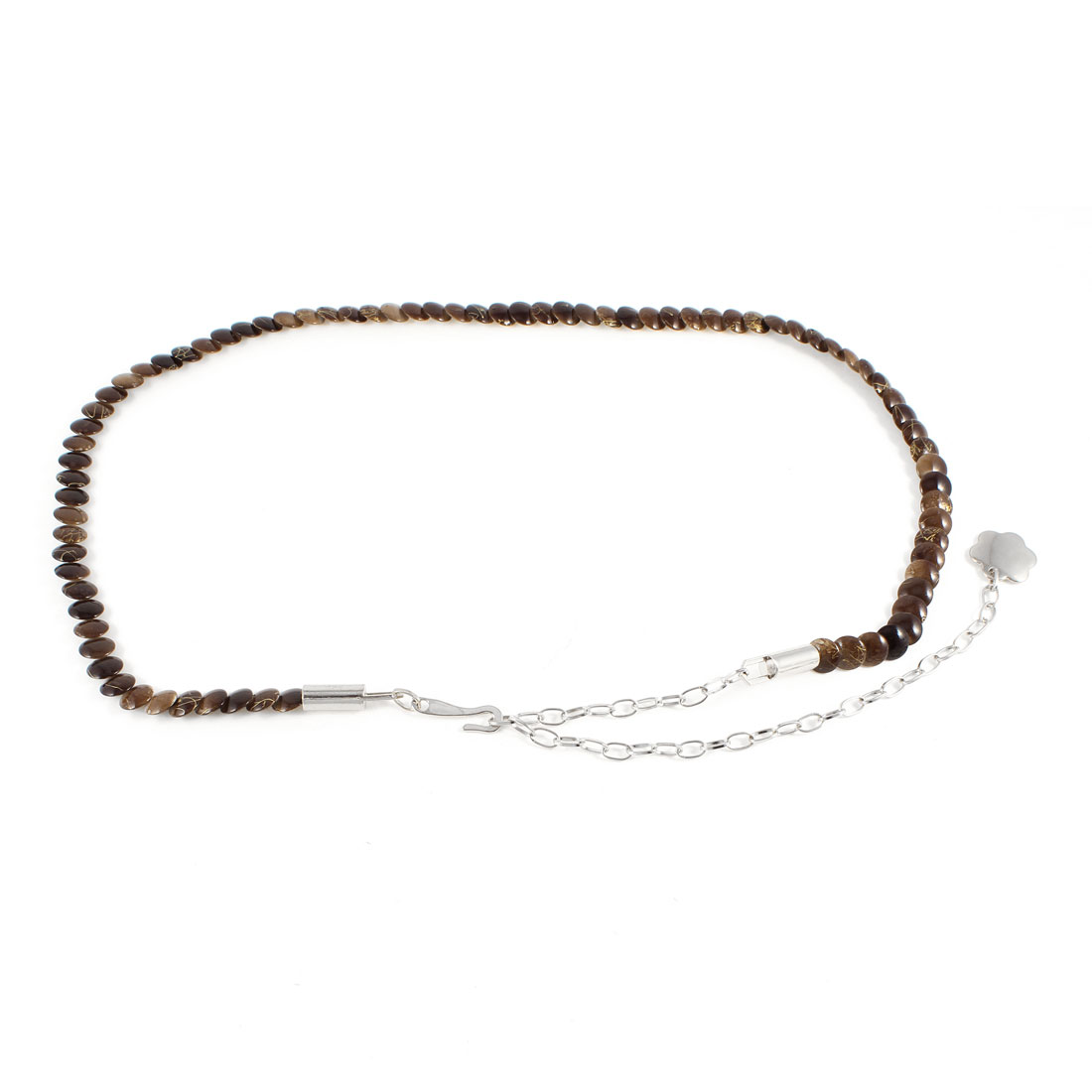 Silver Tone Metal Hook Buckle Brown Adjustable Slim Waist Chain Belt for Ladies