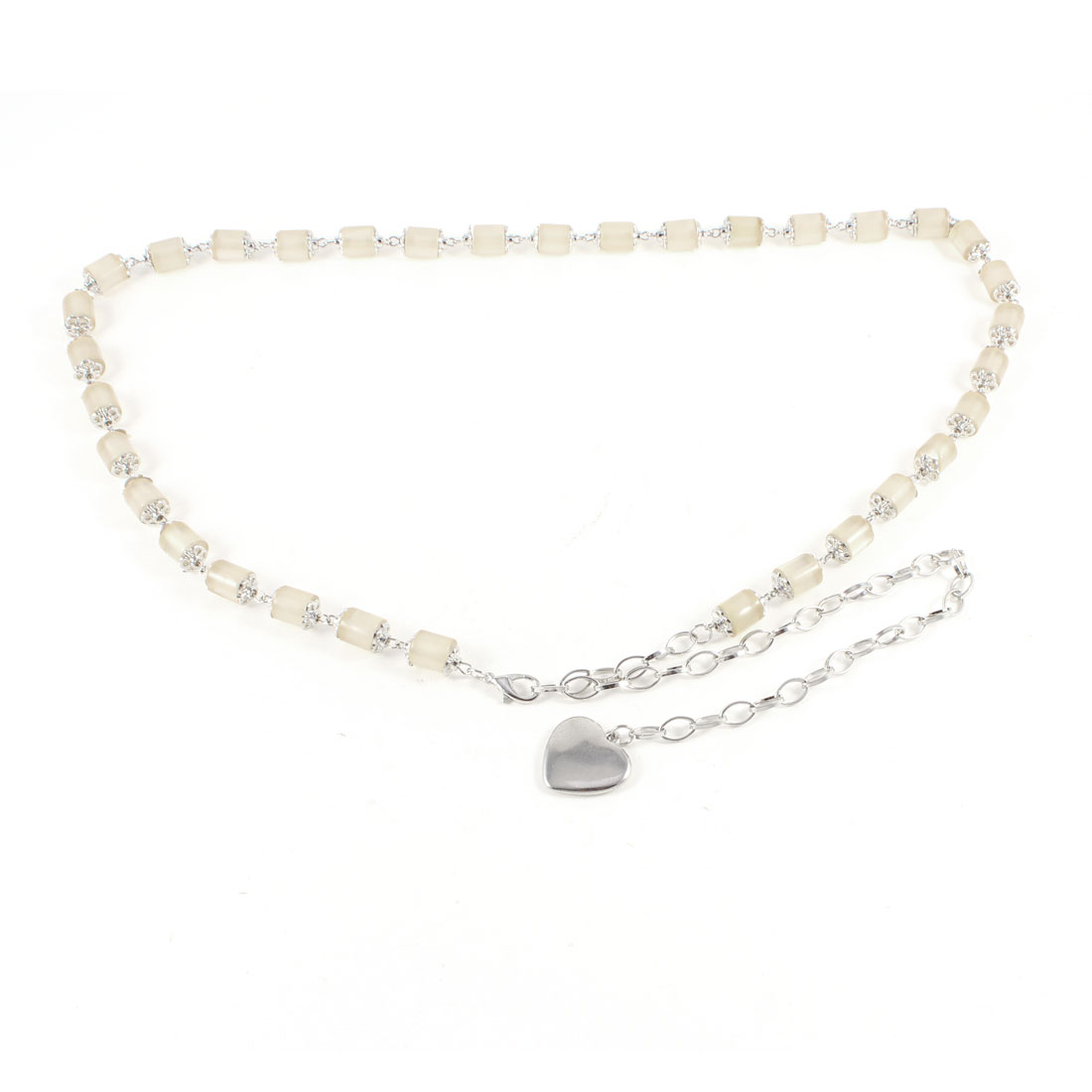 Ladies Beige Cylinder Bead Detailed Heart Shape Dangling Waist Belt Chain