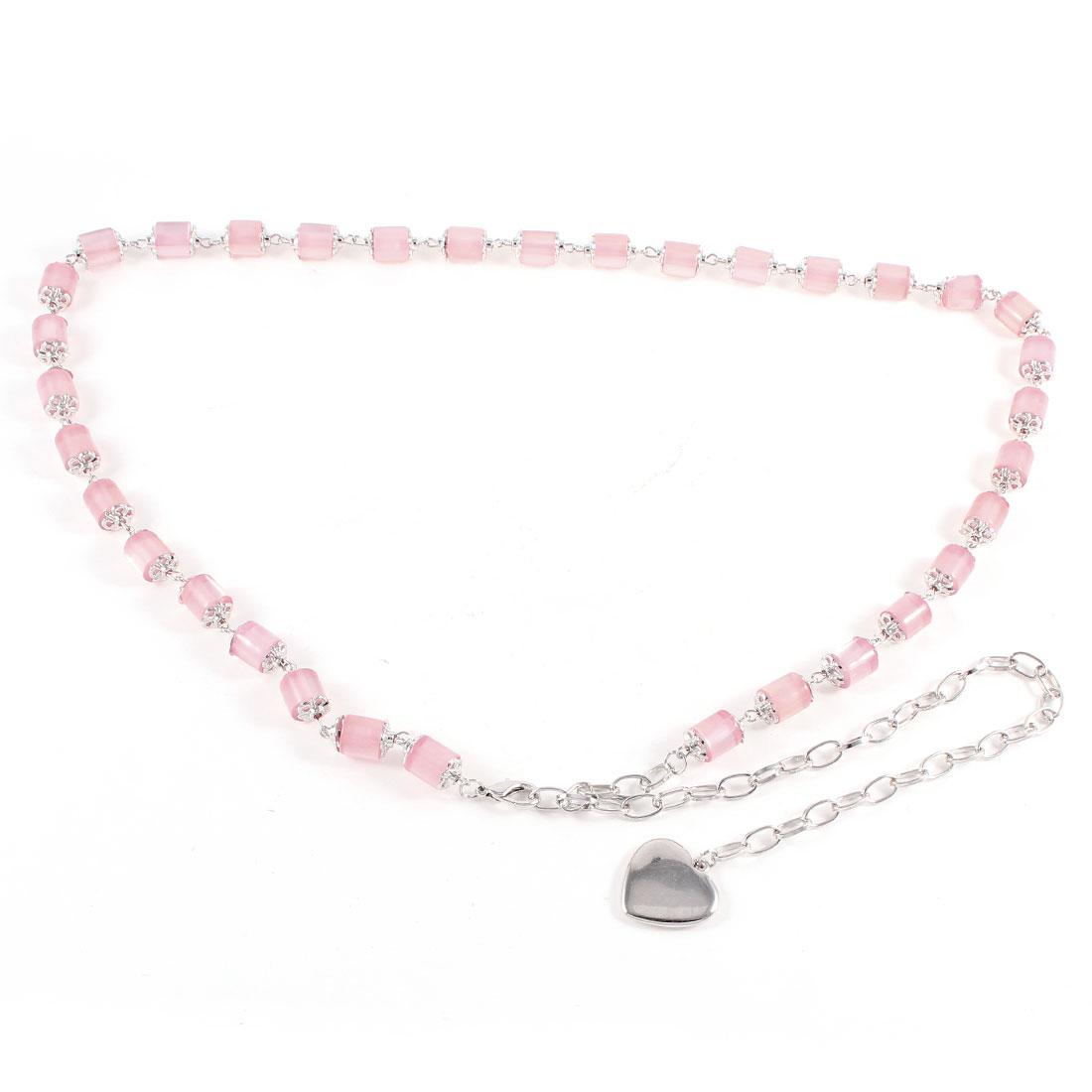 Women Pink Cylinder Bead Detailed Heart Shape Dangling Waist Belt Chain