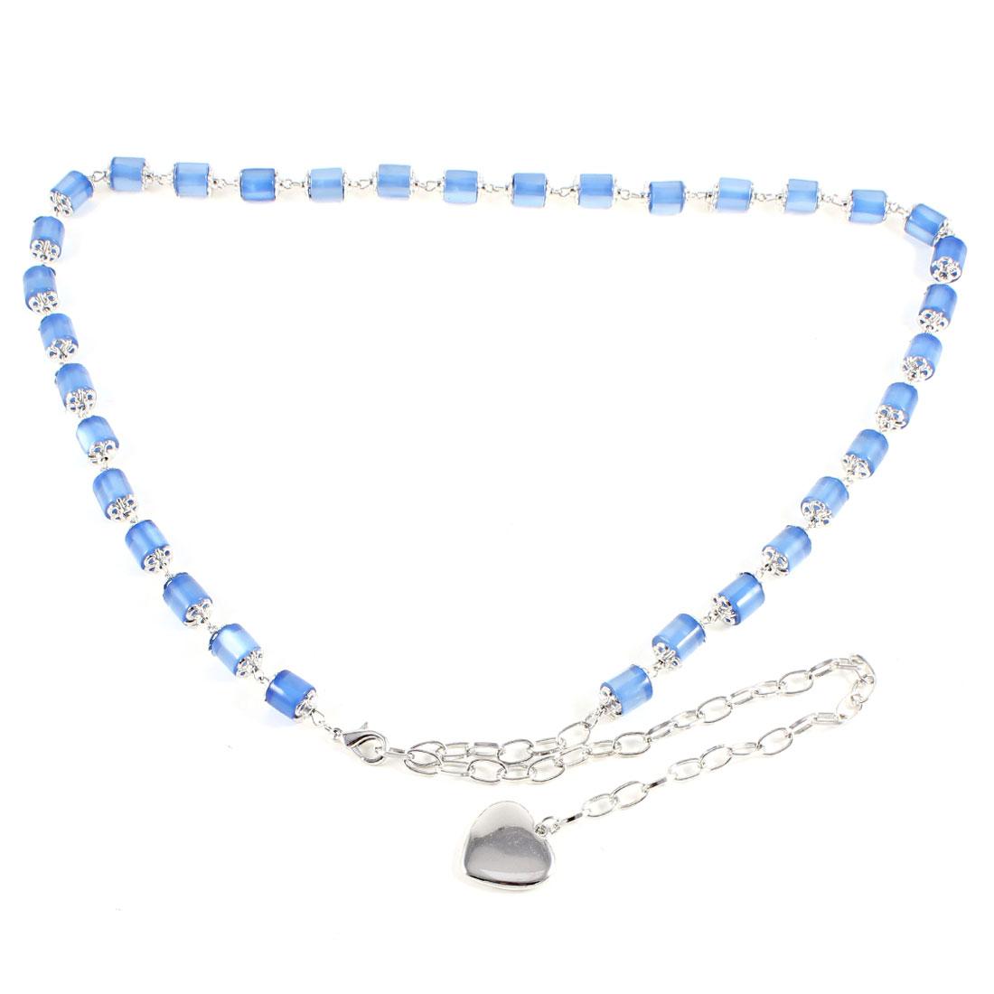 Ladies Sky Blue Cylinder Bead Detailed Heart Shape Dangling Waist Belt Chain