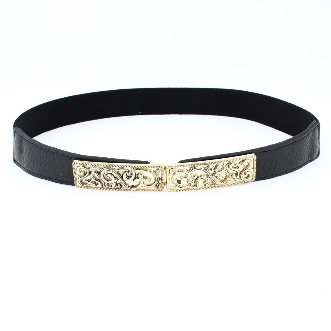 Women Florals Interlocking Buckle Faux Leather Skinny Cinch Belt Black Gold Tone
