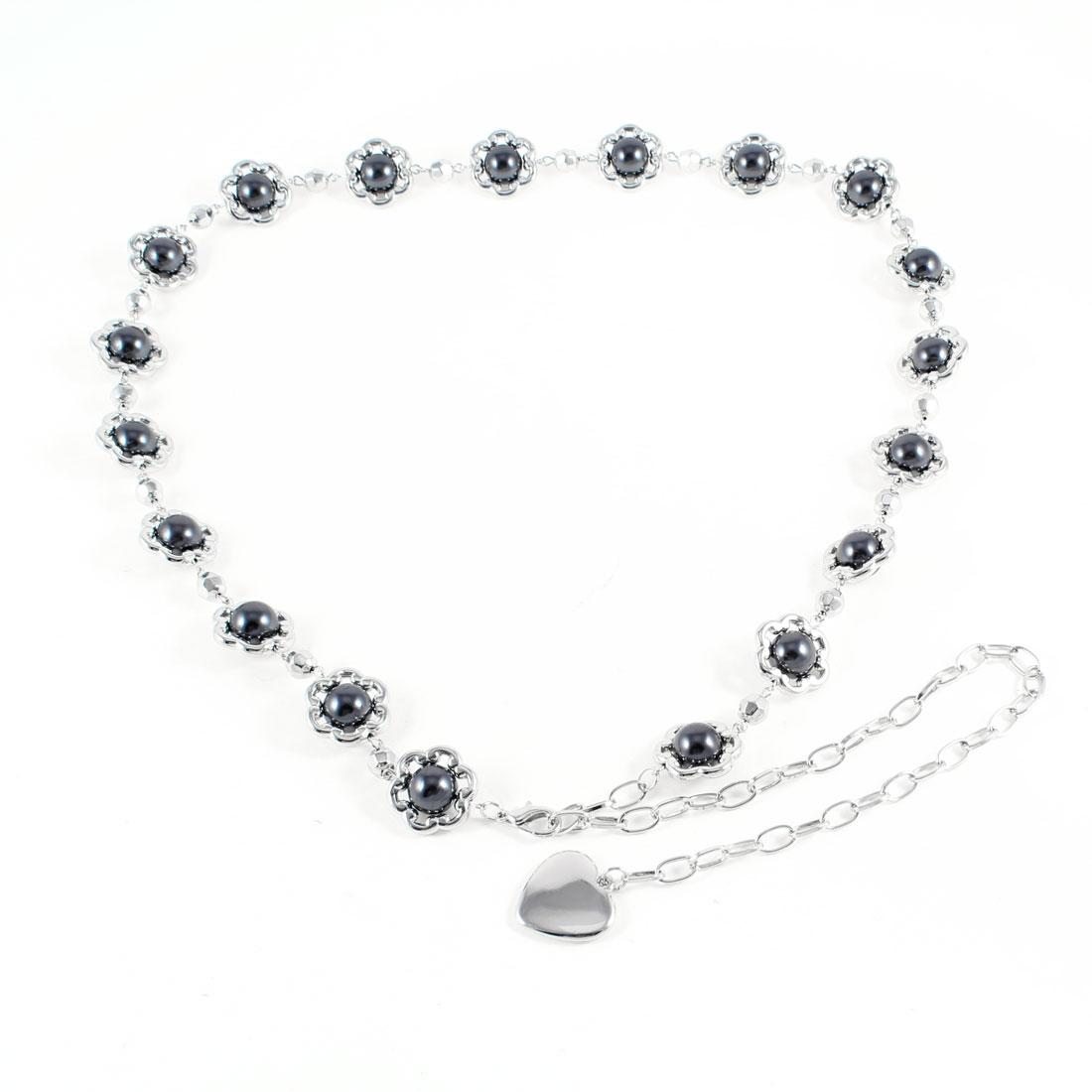 Lobster Clasp Plastic Round Beads Decor Metal Waist Belt Dark Gray for Women